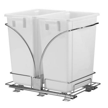 """Household Essentials 19"""" Sliding Trash Can/Double-KD Chrome New Design"""