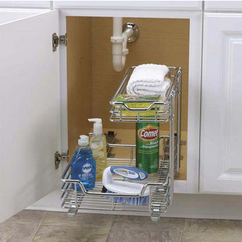 "Household Essentials 12"" Under Sink Sliding Organizer-KD Chrome Single Pack"