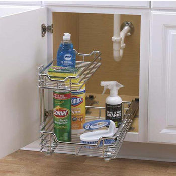 Household Essentials 12 Under Sink Sliding Organizer Kd Chrome Single Pack Min Cab Opening 5 W X 17 75 D