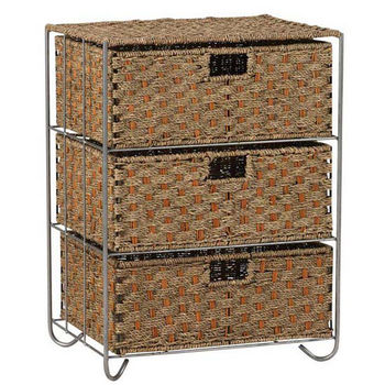 Household Essentials Seagrass, Rattan 3 Drawer Unit