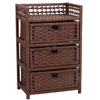 Household Essentials Paper Rope 3 Drawer Chest, Stained (Brown)