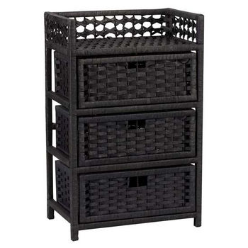 Household Essentials Paper Rope 3 Drawer Chest, Black
