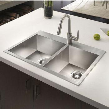 Houzer Bellus Zero Radius Topmount 60/40 Double Bowl Kitchen Sink, Small Bowl Right