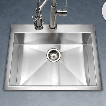 Houzer Bellus Zero Radius Topmount Single Bowl Kitchen Sink