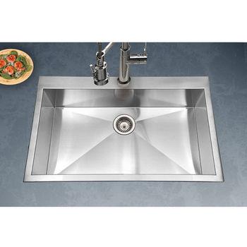 Houzer Bellus Zero Radius Topmount Large Single Bowl Kitchen Sink