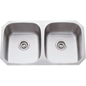"32-1/4"" Wide Double Bowl 16 or 18 Gauge 304 Stainless Steel 50/50 Kitchen Sink with Two Equal Bowls"