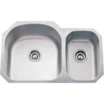 """Hardware Resources 32-1/2"""" Wide Double Bowl 18 Gauge 304 Stainless Steel 70/30 Kitchen Sink with Left Large Bowl and Right Small Bowl, 31-1/2"""" W x 20-1/2"""" D x 9"""" H"""
