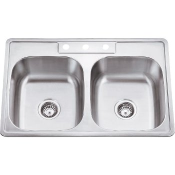 "Hardware Resources 33"" Wide Double Bowl 20 Gauge 304 Stainless Steel Drop In Kitchen Sink with Two Equal Bowls, 33"" W x 22"" D x 9"" H"