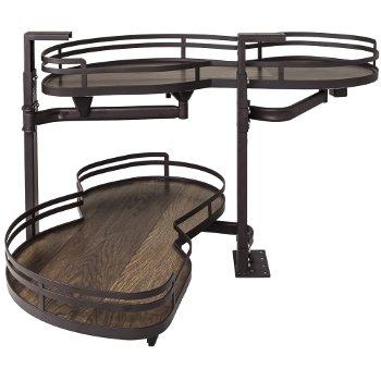 "Hardware Resources 15"" Blind Corner Swing Out Left Handed Unit, Walnut Textured Solid Non-Slip Bottom Shelves with Dark Bronze Edging"