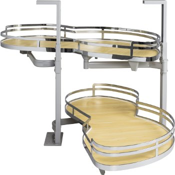 """Hardware Resources 15"""" Blind Corner Swing Out Right Handed Unit, Maple Laminated Non-Slip Shelves with Polished Chrome Edging"""