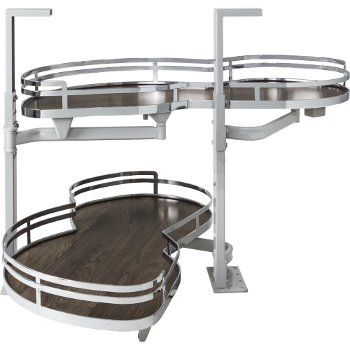 """Hardware Resources 15"""" Blind Corner Swing Out Left Handed Unit, Walnut Textured Solid Non-Slip Bottom Shelves with Polished Chrome Edging"""