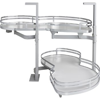 """Hardware Resources 15"""" Blind Corner Swing Out Right Handed Unit, White Laminated Non-Slip Shelves with Polished Chrome Edging"""