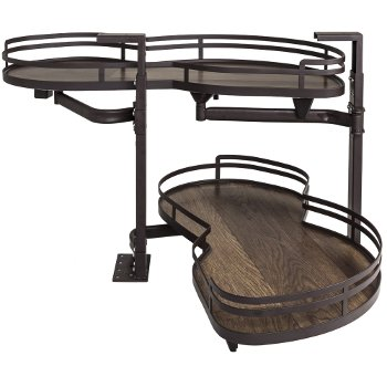 """Hardware Resources 18"""" Blind Corner Swing Out Right Handed Unit, Walnut Textured Solid Non-Slip Bottom Shelves with Dark Bronze Edging"""