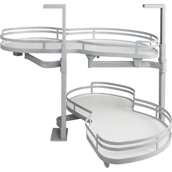 """Hardware Resources 18"""" Blind Corner Swing Out Right Handed Unit, White Laminated Shelves with Powder Coated Grey Edging"""