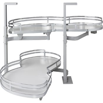 """Hardware Resources 18"""" Blind Corner Swing Out Left Handed Unit, White Laminated Non-Slip Shelves with Polished Chrome Edging"""