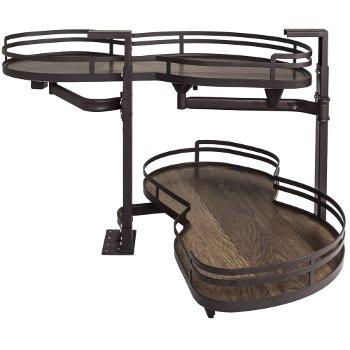 "Hardware Resources 21"" Blind Corner Swing Out Left Handed Unit, Walnut Textured Solid Non-Slip Bottom Shelves with Dark Bronze Edging"