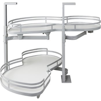 """Hardware Resources 21"""" Blind Corner Swing Out Left Handed Unit, White Laminated Shelves with Powder Coated Grey Edging"""