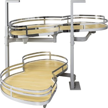 """Hardware Resources 21"""" Blind Corner Swing Out Left Handed Unit, Maple Laminated Non-Slip Shelves with Polished Chrome Edging"""