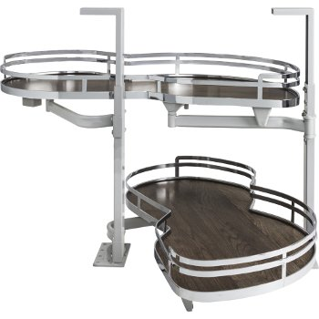 """Hardware Resources 21"""" Blind Corner Swing Out Right Handed Unit, Walnut Textured Solid Non-Slip Bottom Shelves with Polished Chrome Edging"""