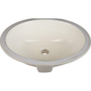"""Hardware Resources 15"""" Diameter x 12"""" D Parchment Oval Undermount Porcelain Sink Basin, 15"""" W x 12"""" D x 6-1/8"""" H"""