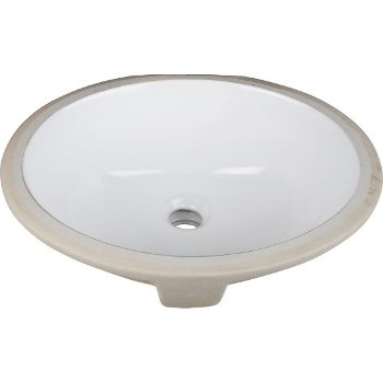 "Hardware Resources 15"" Diameter x 12"" D White Oval Undermount Porcelain Sink Basin, 15"" W x 12"" D x 6-1/8"" H"