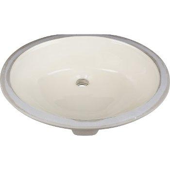 """Hardware Resources 19-1/2"""" Diameter x 16-1/2"""" D Parchment Round Undermount Porcelain Sink Basin, 19-11/16"""" W x 15-3/4"""" D x 6-7/8"""" H"""