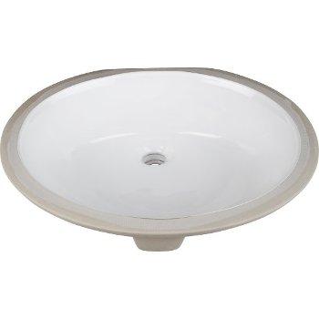 """Hardware Resources 19-1/2"""" Diameter x 16-1/2"""" D White Round Undermount Porcelain Sink Basin, 19-1/16"""" W x 15-3/4"""" D x 6-7/8"""" H"""