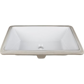 "Hardware Resources 20-7/8"" W x 13-3/8"" D Rectangle Undermount Porcelain White Bathroom Sink, 18-1/8"" W x 12"" D x 6-7/8"" H"