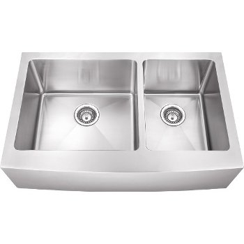"""Hardware Resources 35-7/8"""" Wide Double Bowl 16 Gauge 304 Stainless Steel Fabricated Farmhouse Kitchen Sink, 35-7/8"""" W x 20-3/4"""" D x 10"""" H"""