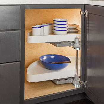 Hardware Resources Half-Moon Lazy Susan 2-Shelf Set with White Plastic Trays