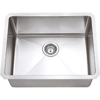 "Hardware Resources 23"" Wide 16 Gauge 304 Stainless Steel Fabricated Kitchen Sink, 23"" W x 18"" D x 10-3/8"" H"