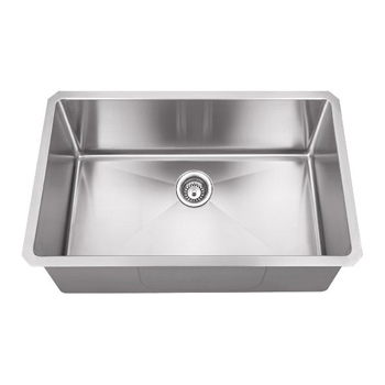 """Hardware Resources 30"""" Wide 16 Gauge 304 Stainless Steel Fabricated Kitchen Sink, 30"""" W x 18"""" D x 10-3/8"""" H"""