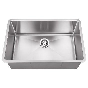 """Hardware Resources 32"""" Wide 16 Gauge 304 Stainless Steel Fabricated Kitchen Sink, Bowl Measurements: 30"""" W x 17"""" W x 10"""" H, 32"""" W x 19"""" D x 10-3/8"""" H"""