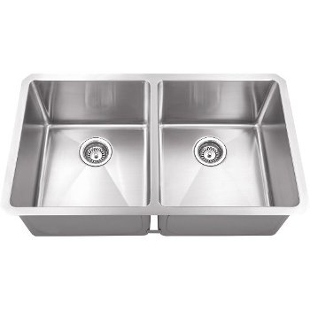 "Hardware Resources 32"" Wide Double Bowl 16 Gauge 304 Stainless Steel Fabricated Kitchen Sink, Bowl Measurements: 14-1/2"" W x 17"" D x 10"" H, 32"" W x 19"" D x 10-3/8"" H"