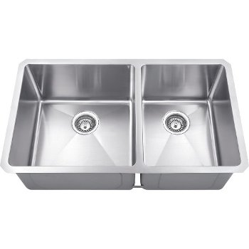 """Hardware Resources 32"""" Wide Double Bowl 16 Gauge 304 Stainless Steel Fabricated Kitchen Sink with Left Large Bowl and Right Small Bowl, 32"""" W x 19"""" D x 10-3/8"""" H"""