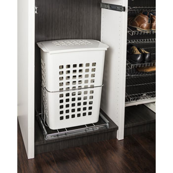 "Hardware Resources Pullout Hamper with Lid and Full Extension Slides, White Plastic, Chrome Wire Pullout System, 19-3/16""W x 13-3/4""D x 22-11/16""H"
