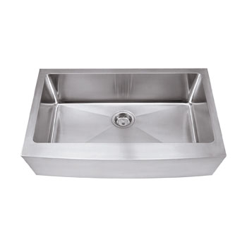 "Hardware Resources 16 Gauge Stainless Steel Farmhouse Sink, 35-7/8""W x 20-3/4""D x 10""H"