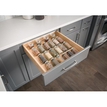 "Hardware Resources 23-1/2"" W Spice Tray Organizer for Drawers, White Birch with UV Coated Finish"