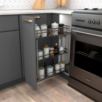 "Hardware Resources Storage with Style™ 5"" Wire Base Pullout in Black Nickel Frame, For 6"" Minimum Cabinet Opening, 5-15/16"" W x 21-5/16"" D x 24-1/16"" H"