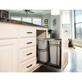 """Hardware Resources Double 35 Quart (12.5 Gallon) Metal Trash Pullout, Black Nickel Frame with Grey Cans, Door Mount with Soft-Close Slides, 15""""W x D x 19-13/16""""H"""