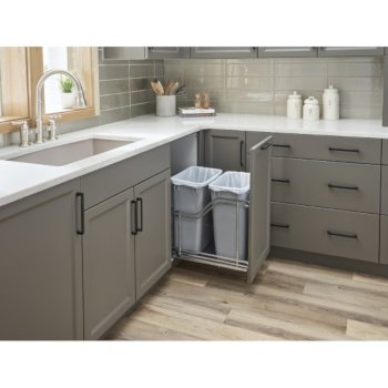 "Hardware Resources Double 35 Quart (12.5 Gallon) Metal Trash Pullout, Polished Chrome Frame with Grey Cans, Door Mount with Soft-Close Slides, 15""W x 21-13/16""D x 19-13/16""H"