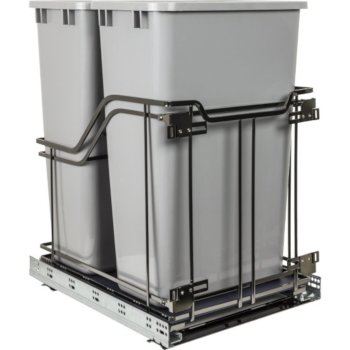 """Hardware Resources Storage with Style™ Double 50 Quart (12.5 Gallons) Trash Cans in Grey with Black Nickel Frame, For 15"""" Minimum Cabinet Opening, 14-15/16"""" W x 21-13/16"""" D x 24"""" H"""