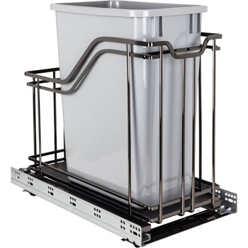 "Hardware Resources Single 35 Quart (12.5 Gallon) Metal Trash Pullout, Black Nickel Frame with Grey Cans, Door Mount with Soft-Close Slides, 12""W x 21-13/16""D x 19-13/16""H"