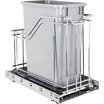 "Hardware Resources Single 35 Quart (12.5 Gallon) Metal Trash Pullout, Polished Chrome Frame with Grey Cans, Door Mount with Soft-Close Slides, 12""W x 21-13/16""D x 19-13/16""H"