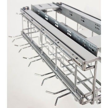 "Hardware Resources Hanging Soft Close Pan Organizer with Lid Storage and Adjustable Hooks, Polished Chrome, 15-5/8""W x 22-5/8""D x 13-7/16""H"