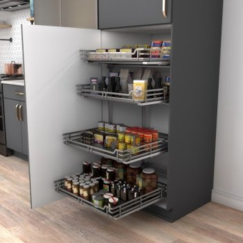"""Hardware Resources Storage with Style™ Wire Pullout Basket in Black Nickel, For 27"""" Minimum Cabinet Opening, 25-9/16"""" W x 22-1/16"""" D x 5-7/16"""" H"""