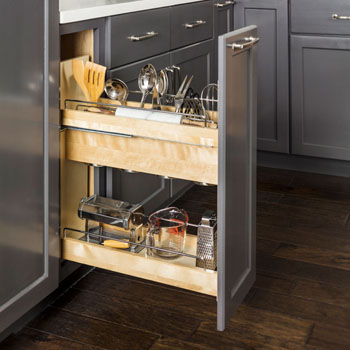 "Hardware Resources No Wiggle 8"" Soft Close Utensil Bin Base Cabinet Pullout with Undermount Slides"