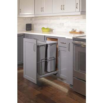 Double 50qt Trashcan Pullout - Lifestyle View