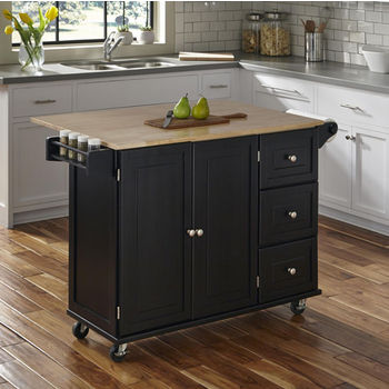 Black w/ Wood Top Front View - In Use w/ Breakfast Bar Up