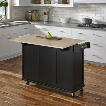 Black w/ Wood Top Back View - Breakfast Bar Up